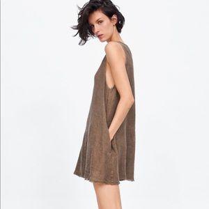 NWT's Zara Linen Brown Dress Size Medium